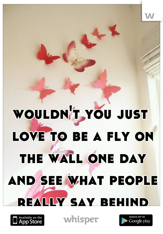 wouldn't you just love to be a fly on the wall one day and see what people really say behind your back.