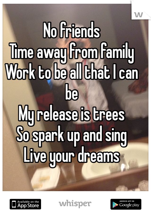 No friends Time away from family Work to be all that I can be  My release is trees So spark up and sing Live your dreams