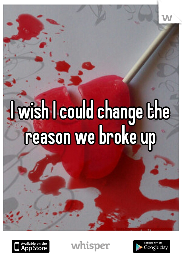 I wish I could change the reason we broke up