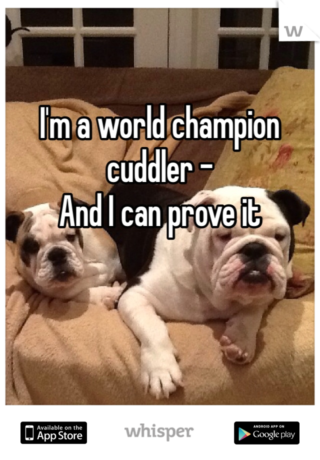 I'm a world champion cuddler -  And I can prove it