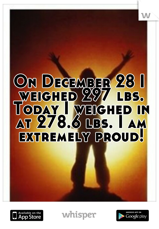 On December 28 I weighed 297 lbs. Today I weighed in at 278.6 lbs. I am extremely proud!