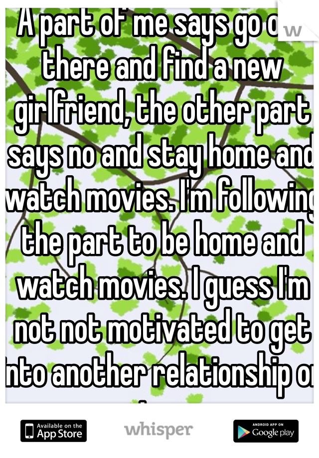 A part of me says go out there and find a new girlfriend, the other part says no and stay home and watch movies. I'm following the part to be home and watch movies. I guess I'm not not motivated to get into another relationship or try.
