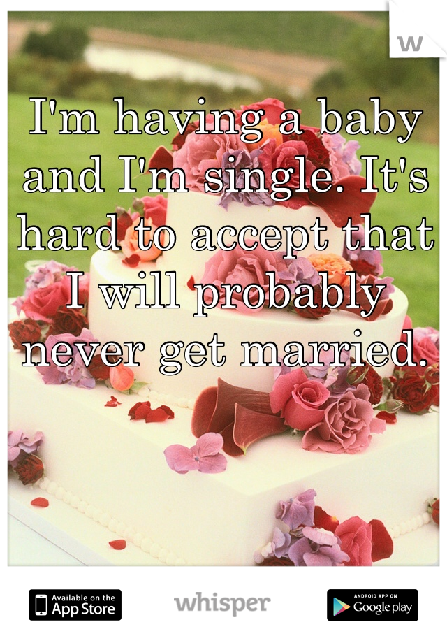 I'm having a baby and I'm single. It's hard to accept that I will probably never get married.