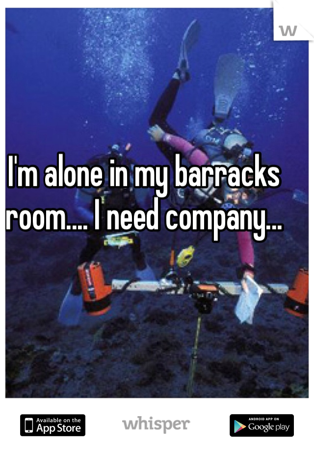I'm alone in my barracks room.... I need company...