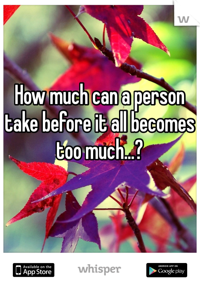 How much can a person take before it all becomes too much...?