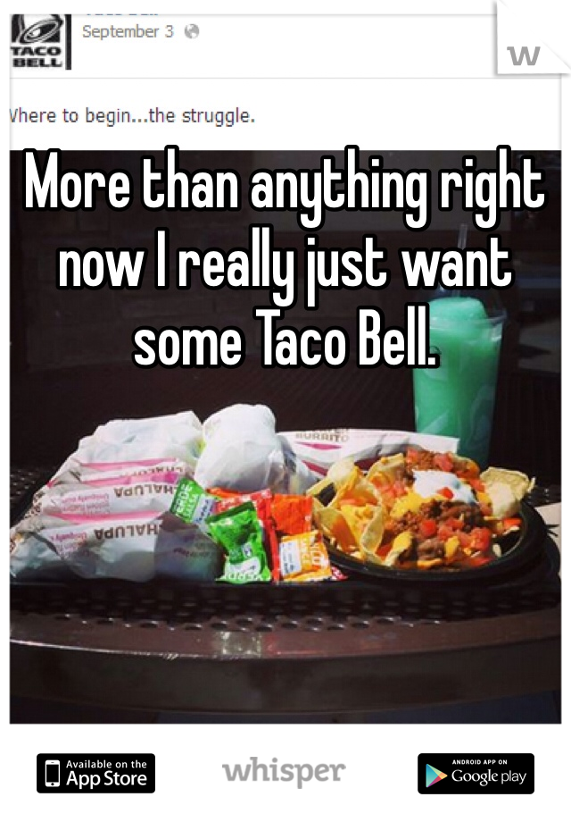 More than anything right now I really just want some Taco Bell.
