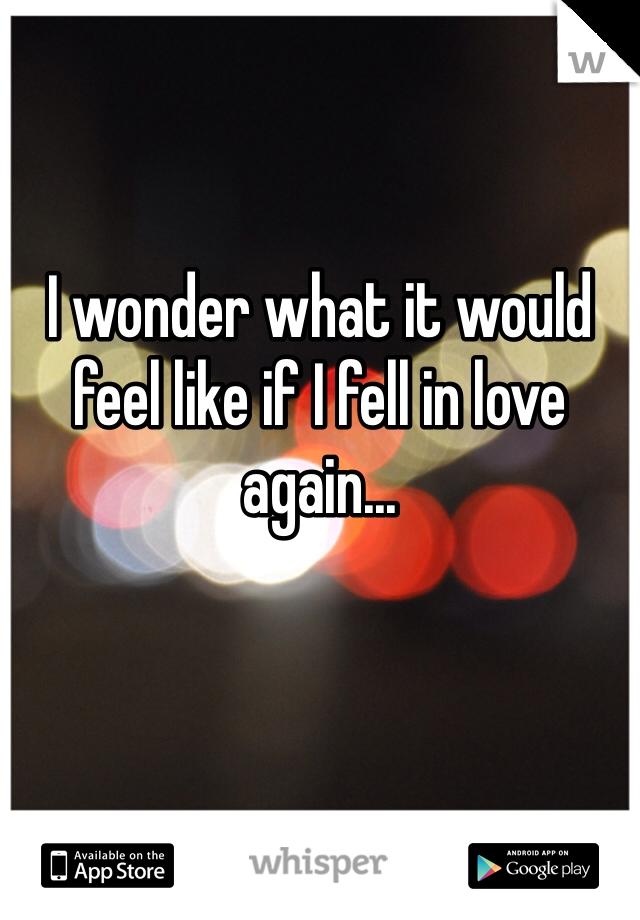 I wonder what it would feel like if I fell in love again...