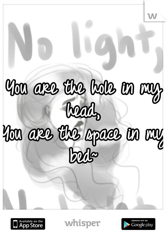 You are the hole in my head,  You are the space in my bed~