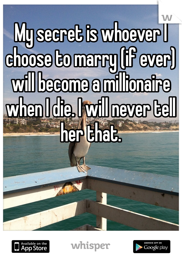 My secret is whoever I choose to marry (if ever) will become a millionaire when I die. I will never tell her that.