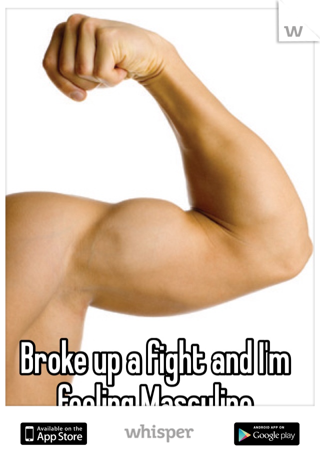 Broke up a fight and I'm feeling Masculine