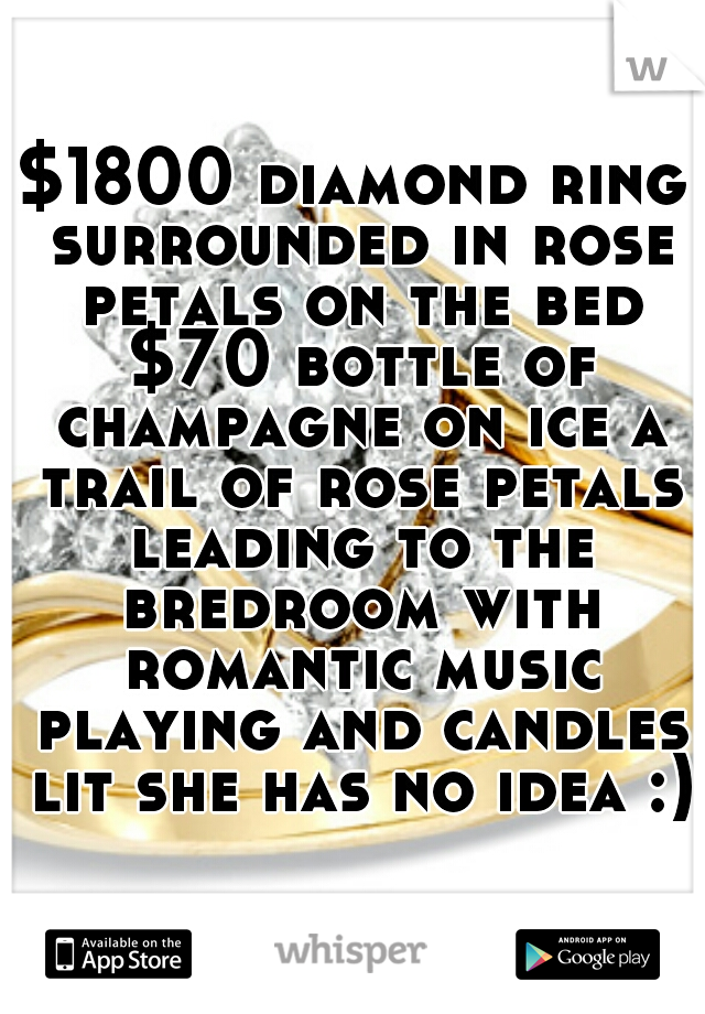 $1800 diamond ring surrounded in rose petals on the bed $70 bottle of champagne on ice a trail of rose petals leading to the bredroom with romantic music playing and candles lit she has no idea :)