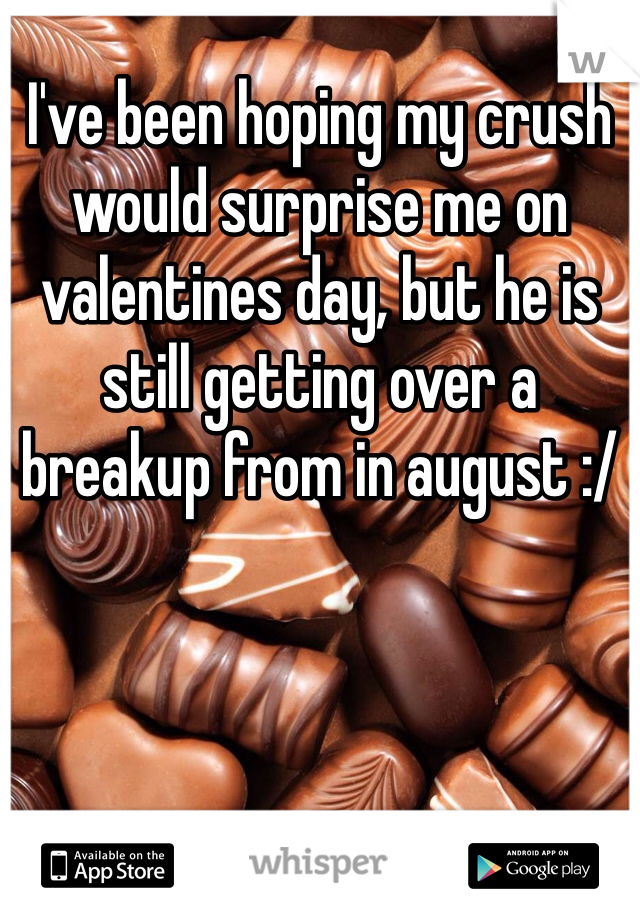 I've been hoping my crush would surprise me on valentines day, but he is still getting over a breakup from in august :/