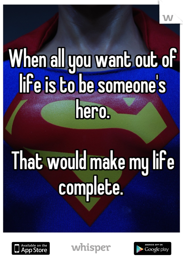 When all you want out of life is to be someone's hero.   That would make my life complete.