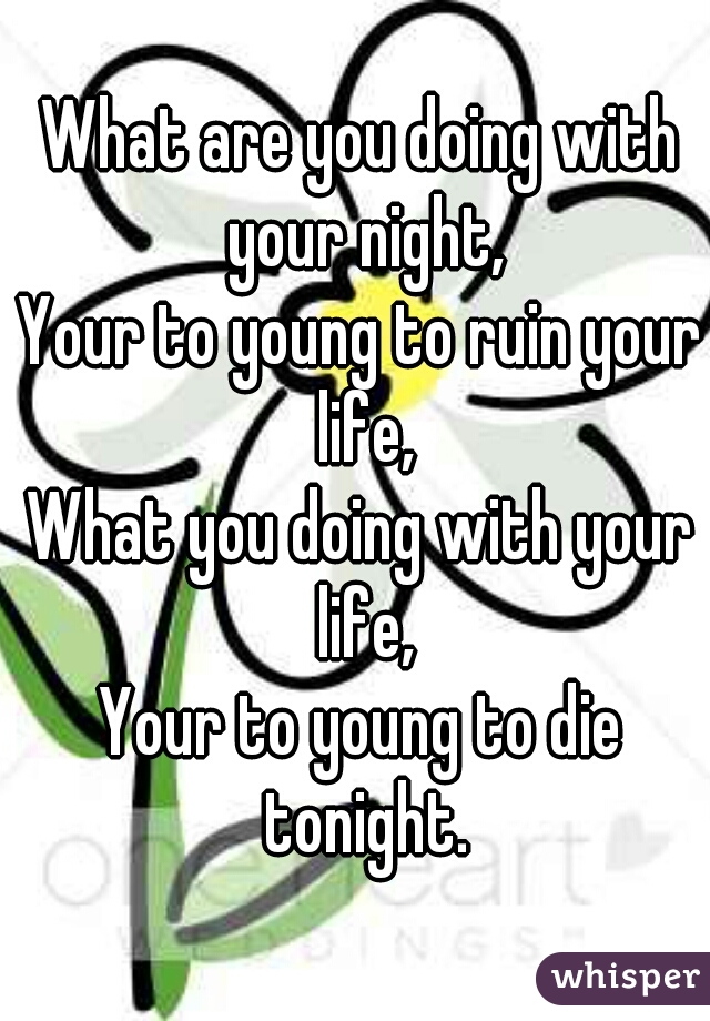 What are you doing with your night, Your to young to ruin your life, What you doing with your life, Your to young to die tonight.