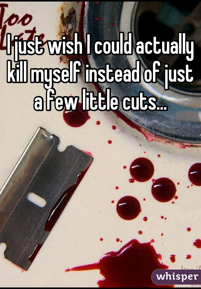 I just wish I could actually kill myself instead of just a few little cuts...