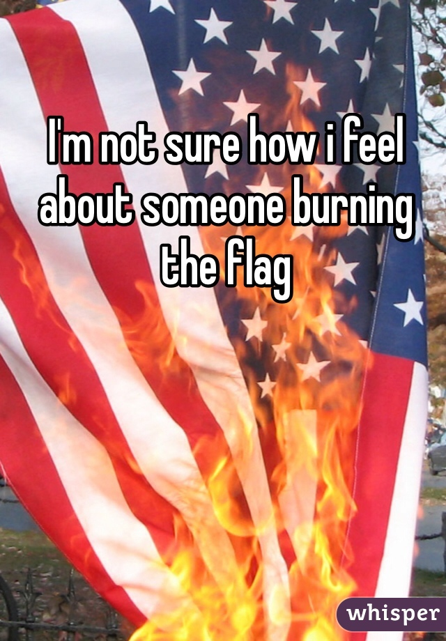 I'm not sure how i feel about someone burning the flag