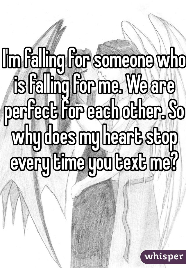 I'm falling for someone who is falling for me. We are perfect for each other. So why does my heart stop every time you text me?