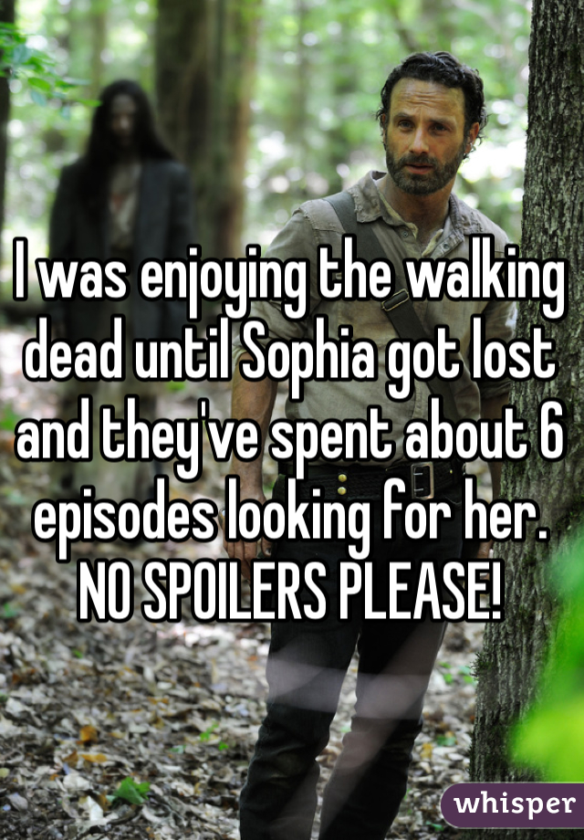 I was enjoying the walking dead until Sophia got lost and they've spent about 6 episodes looking for her. NO SPOILERS PLEASE!