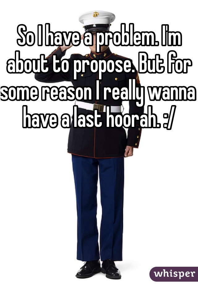 So I have a problem. I'm about to propose. But for some reason I really wanna have a last hoorah. :/