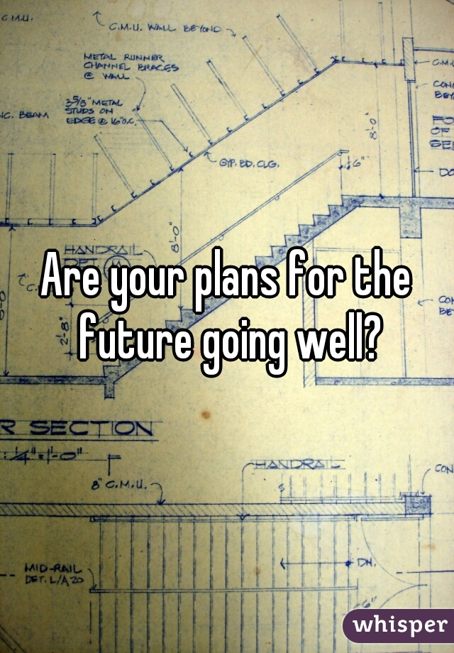 Are your plans for the future going well?