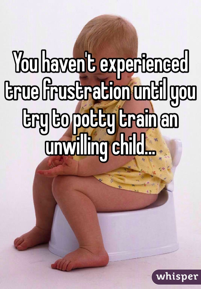 You haven't experienced true frustration until you try to potty train an unwilling child...