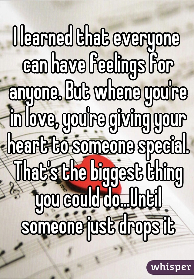I learned that everyone can have feelings for anyone. But whene you're in love, you're giving your heart to someone special. That's the biggest thing you could do...Until someone just drops it