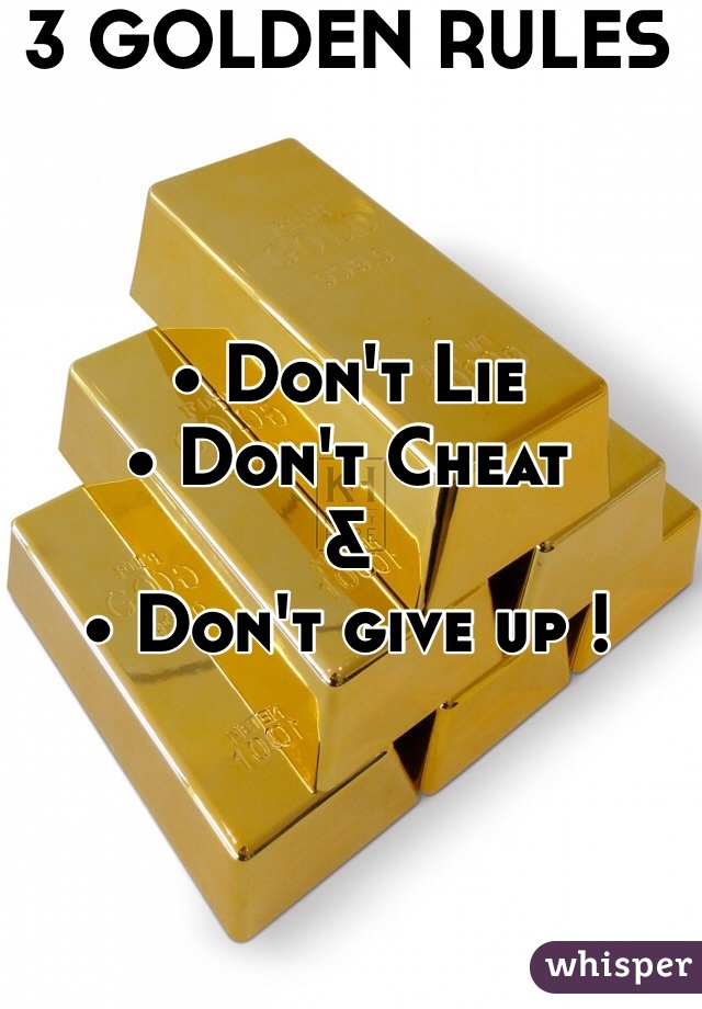 3 GOLDEN RULES    • Don't Lie • Don't Cheat & • Don't give up !
