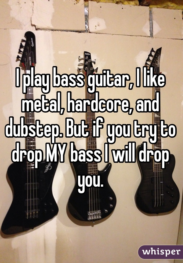 I play bass guitar, I like metal, hardcore, and dubstep. But if you try to drop MY bass I will drop you.