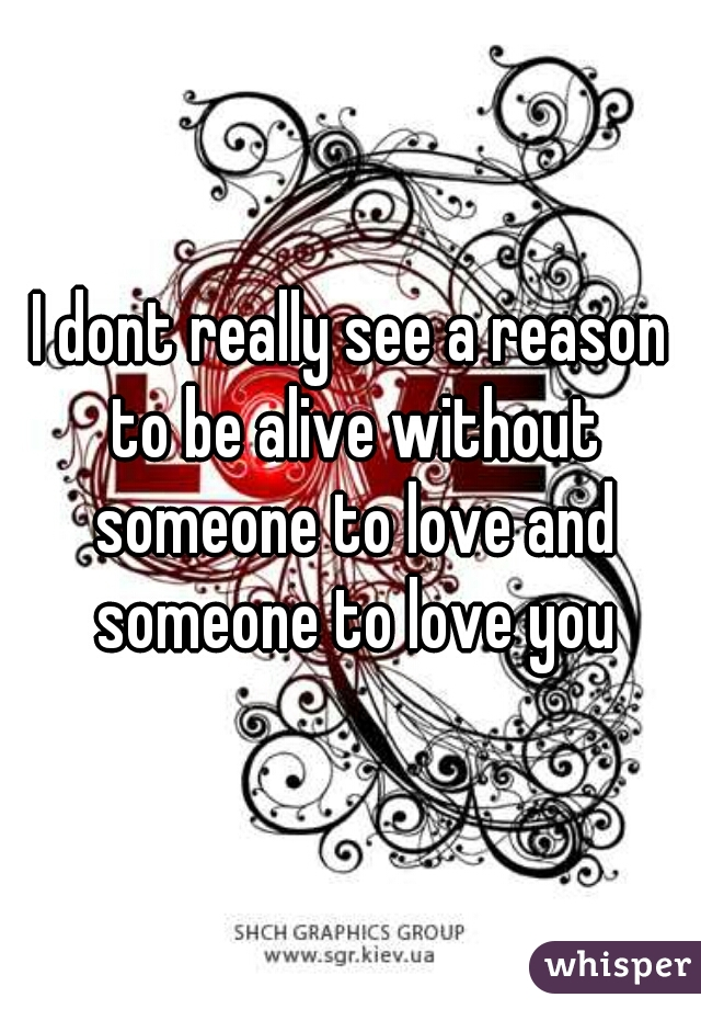 I dont really see a reason to be alive without someone to love and someone to love you