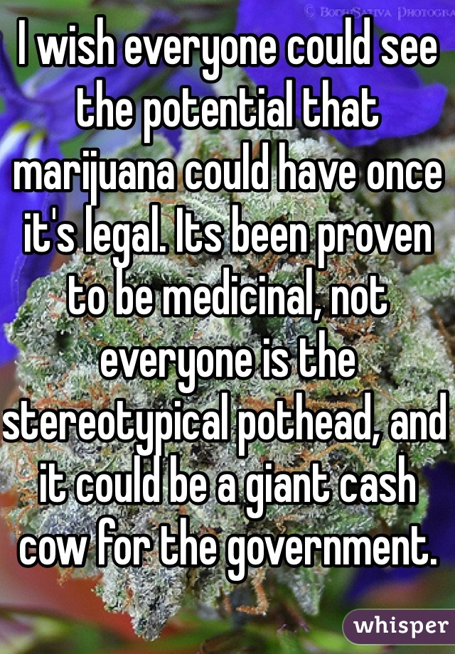 I wish everyone could see the potential that marijuana could have once it's legal. Its been proven to be medicinal, not everyone is the stereotypical pothead, and it could be a giant cash cow for the government.