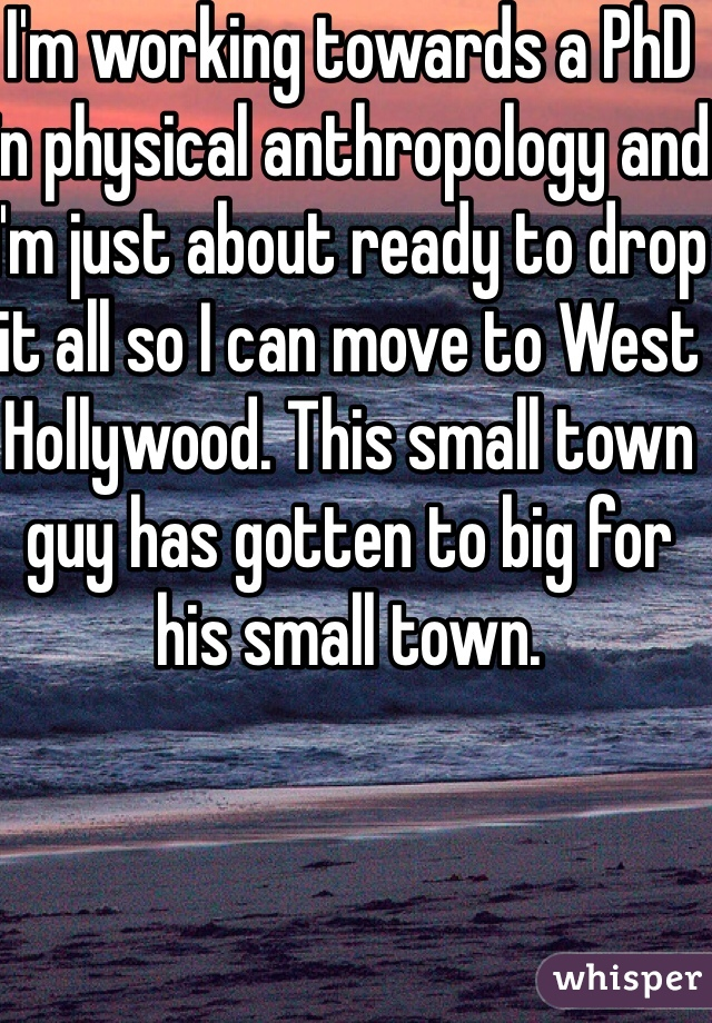 I'm working towards a PhD in physical anthropology and I'm just about ready to drop it all so I can move to West Hollywood. This small town guy has gotten to big for his small town.