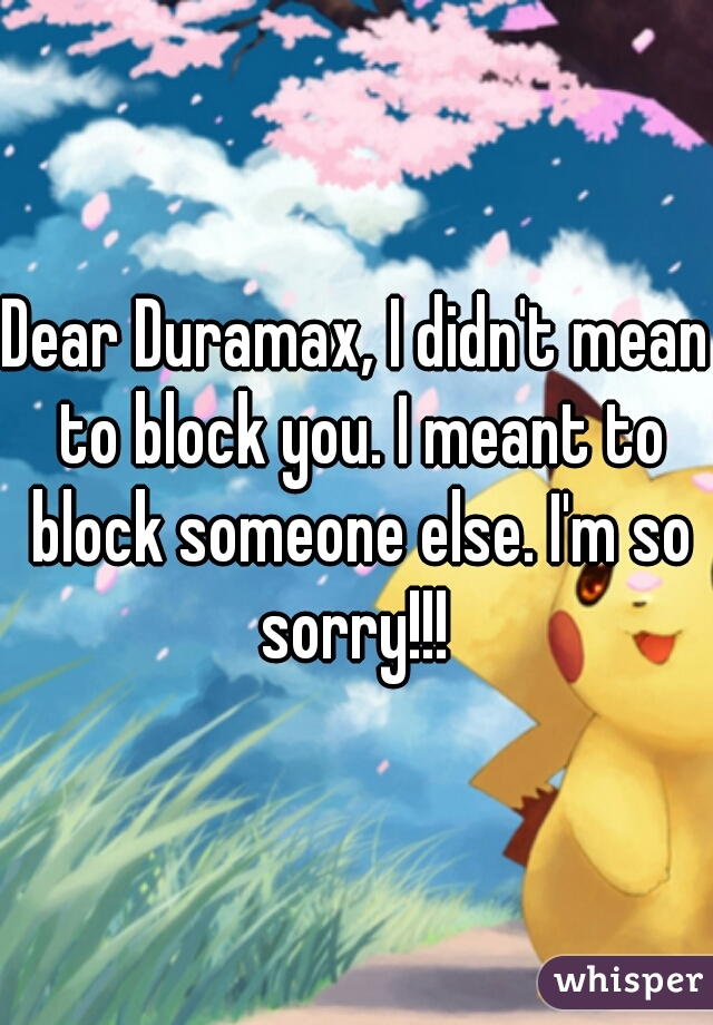 Dear Duramax, I didn't mean to block you. I meant to block someone else. I'm so sorry!!!