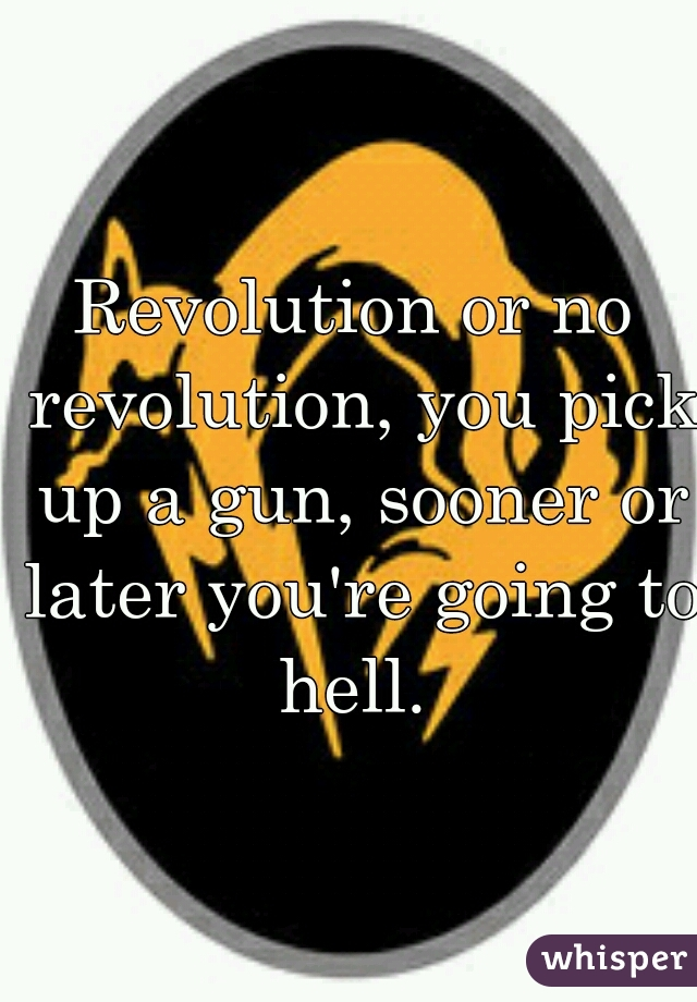 Revolution or no revolution, you pick up a gun, sooner or later you're going to hell.