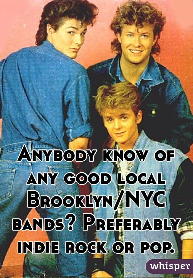 Anybody know of any good local Brooklyn/NYC bands? Preferably indie rock or pop.