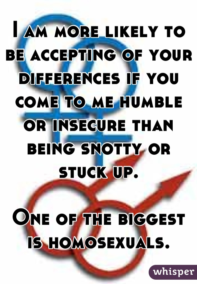 I am more likely to be accepting of your differences if you come to me humble or insecure than being snotty or stuck up.  One of the biggest is homosexuals.