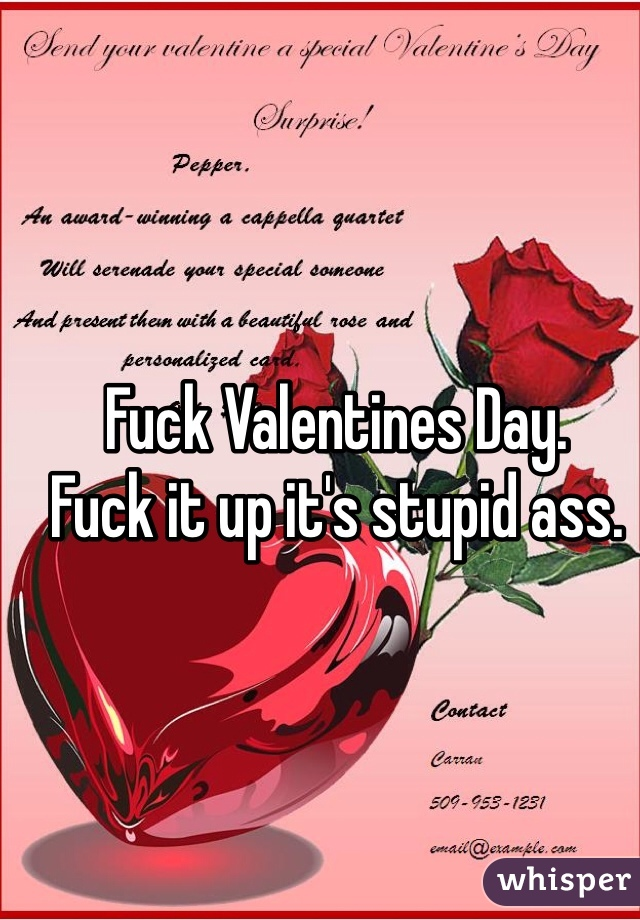 Fuck Valentines Day.  Fuck it up it's stupid ass.