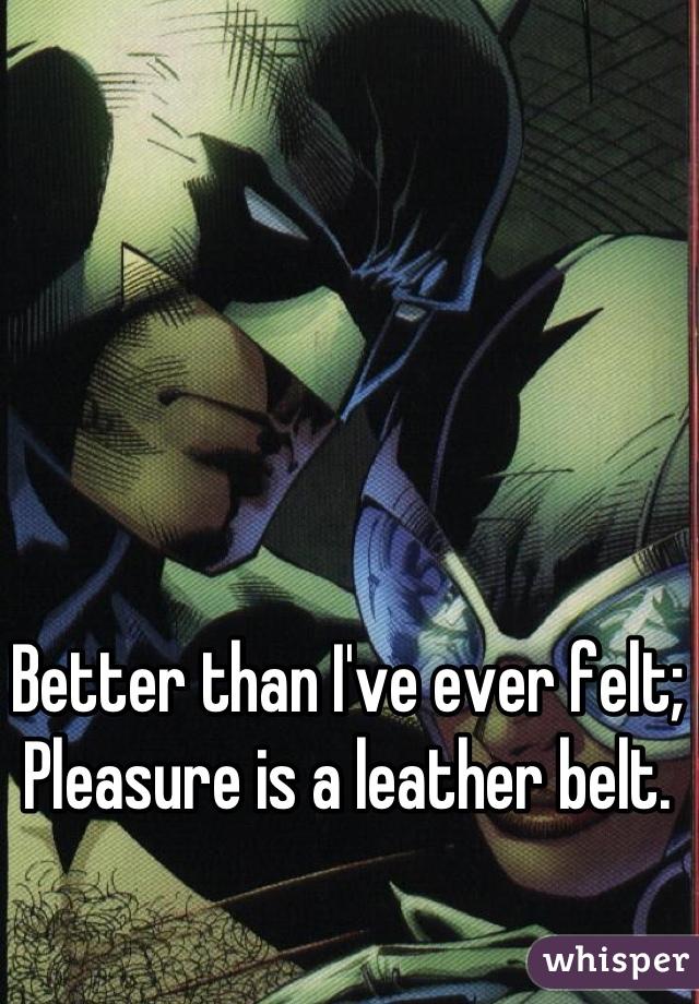 Better than I've ever felt; Pleasure is a leather belt.