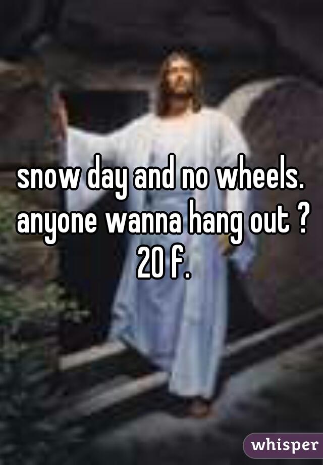 snow day and no wheels. anyone wanna hang out ? 20 f.