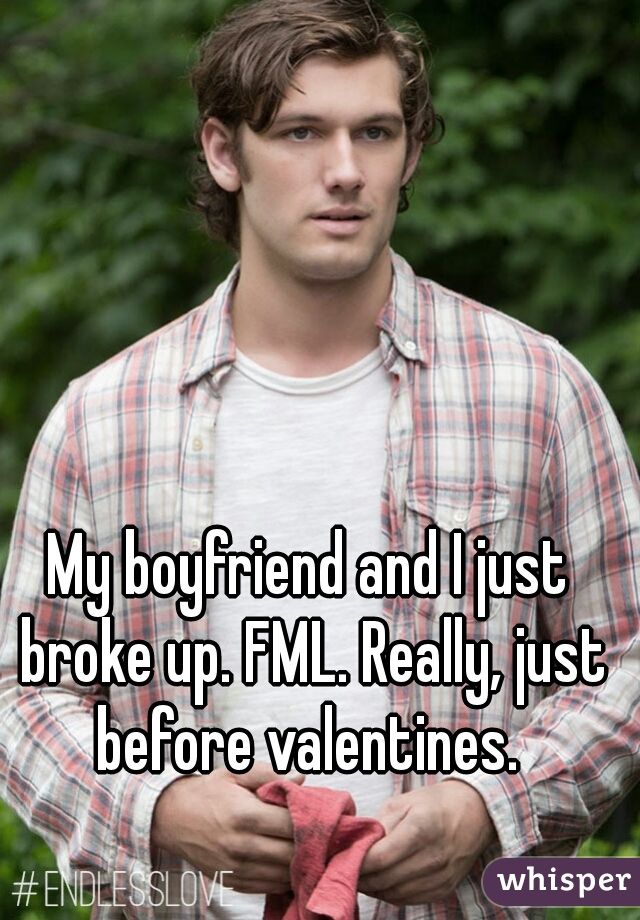 My boyfriend and I just broke up. FML. Really, just before valentines.