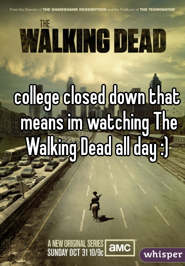 college closed down that means im watching The Walking Dead all day :)