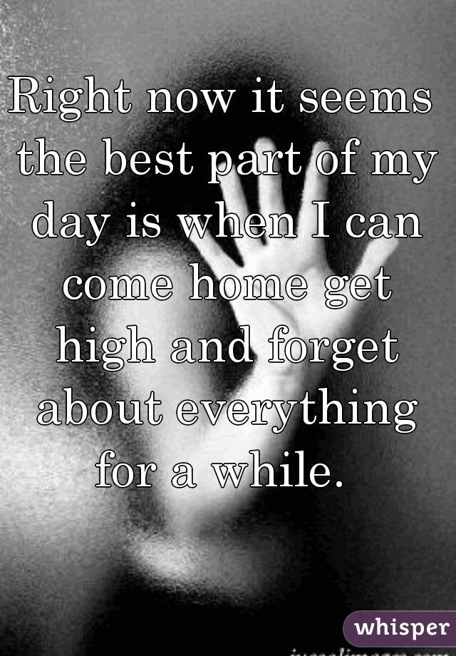 Right now it seems the best part of my day is when I can come home get high and forget about everything for a while.