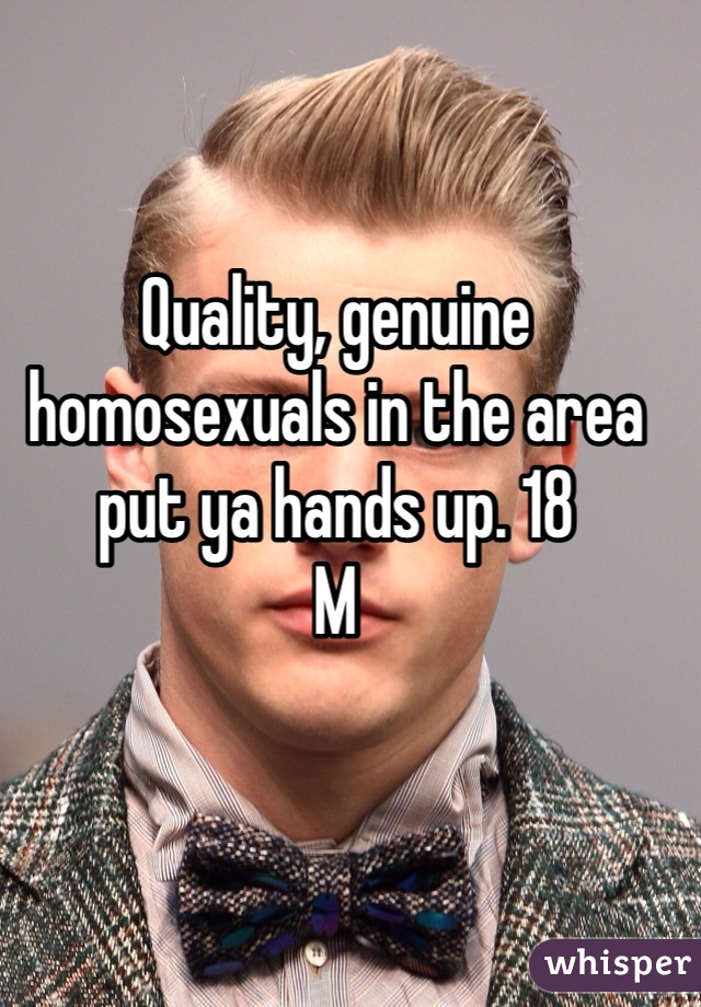 Quality, genuine homosexuals in the area put ya hands up. 18  M