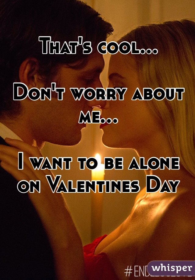 That's cool...  Don't worry about me...  I want to be alone on Valentines Day