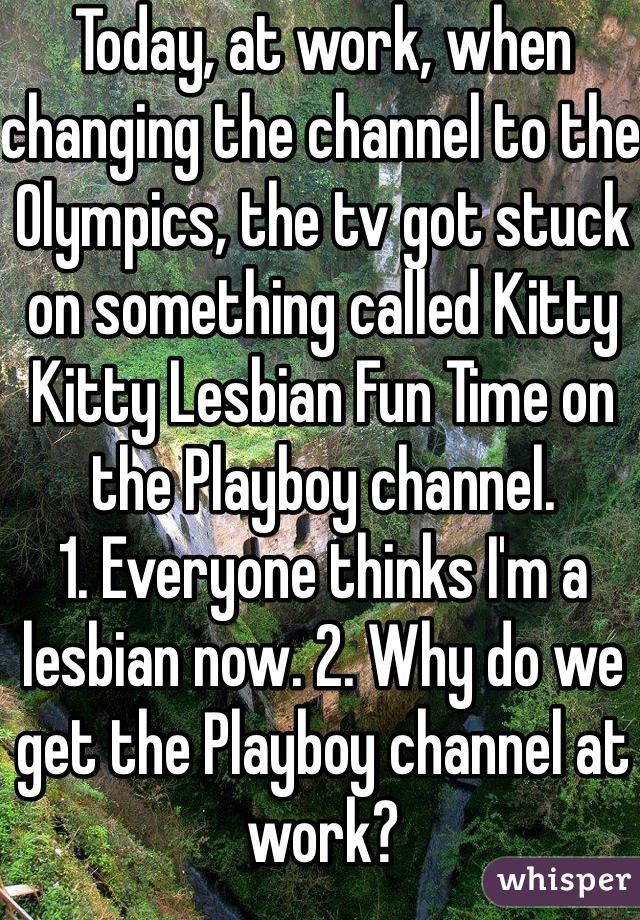 Today, at work, when changing the channel to the Olympics, the tv got stuck on something called Kitty Kitty Lesbian Fun Time on the Playboy channel.  1. Everyone thinks I'm a lesbian now. 2. Why do we get the Playboy channel at work?