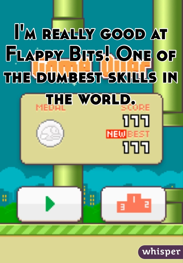I'm really good at Flappy Bits! One of the dumbest skills in the world.