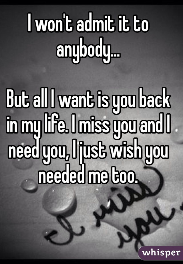 I Need You Back In My Life