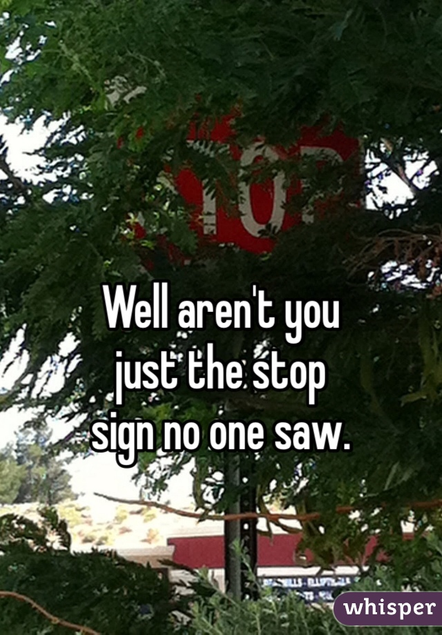 Well aren't you  just the stop  sign no one saw.