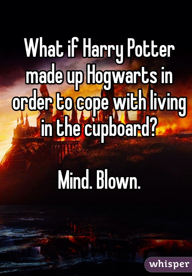 What if Harry Potter made up Hogwarts in order to cope with living in the cupboard?  Mind. Blown.