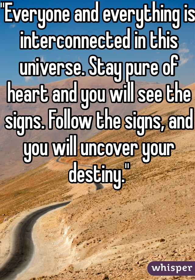 """Everyone and everything is interconnected in this universe. Stay pure of heart and you will see the signs. Follow the signs, and you will uncover your destiny."""