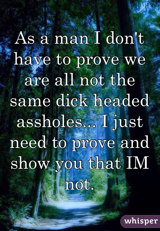 As a man I don't have to prove we are all not the same dick headed assholes... I just need to prove and show you that IM not.